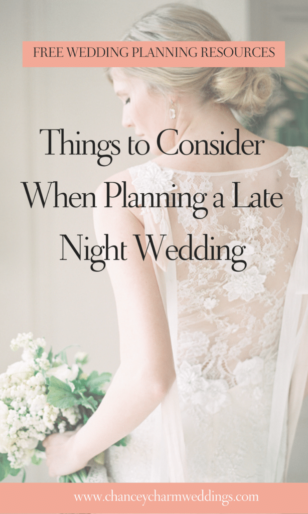 The Chancey Charm team is sharing their top tips and mistakes to avoid when planning evening weddings. #eveningwedding #weddingplanningtips #weddingadvice