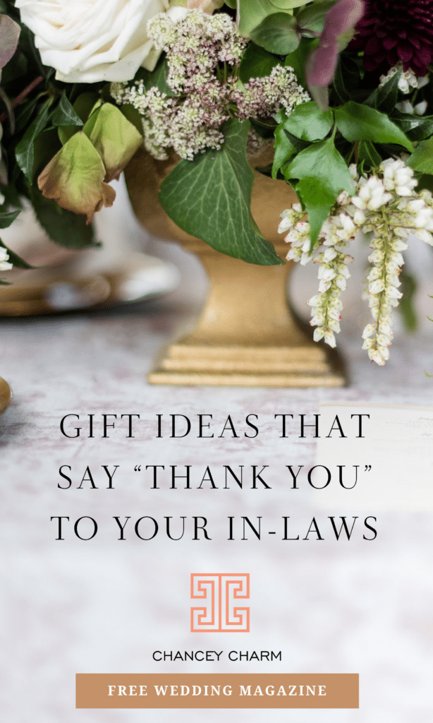 The Chancey Charm Wedding Planning Team is sharing their favorite gift ideas for your soon-to-be in-laws. #weddingplanningtips #weddinggiftideas #weddingplanningadvice