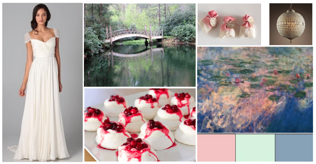Example of a styled shoot vision design board