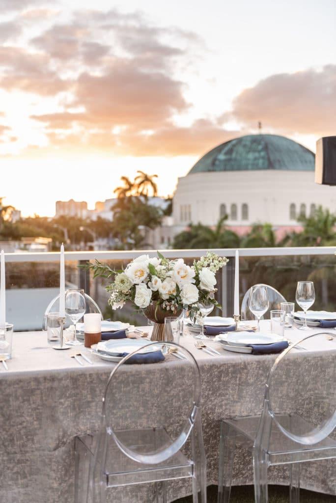 Modern outdoor wedding table set-up at Gale Hotel Atlanta