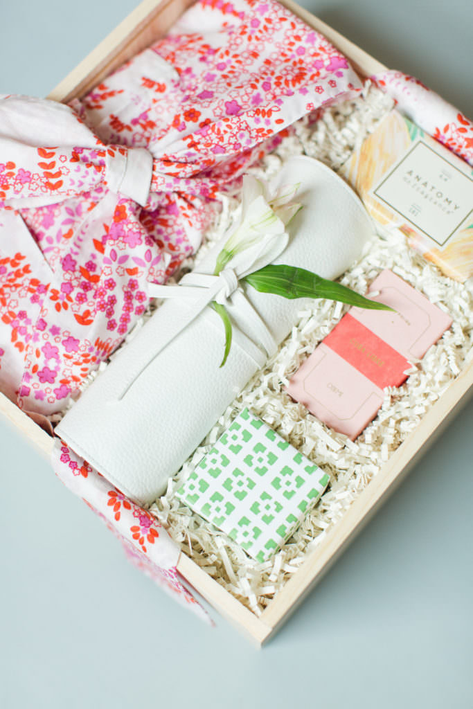 Gift box containing packaged beauty products