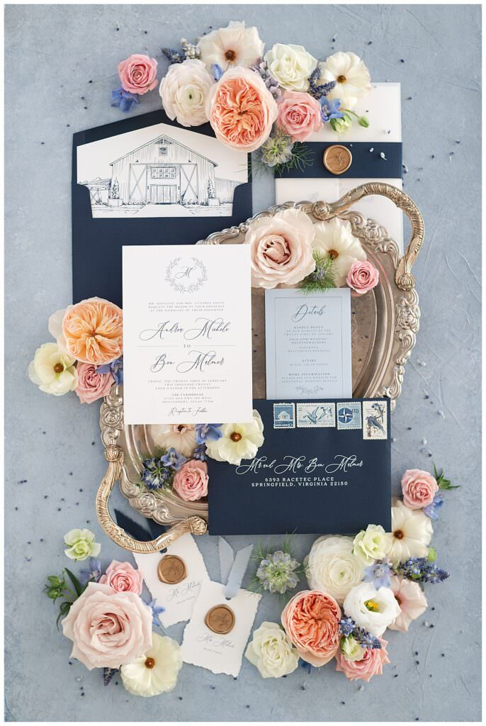 Dallas wedding luxury invitation suite and florals