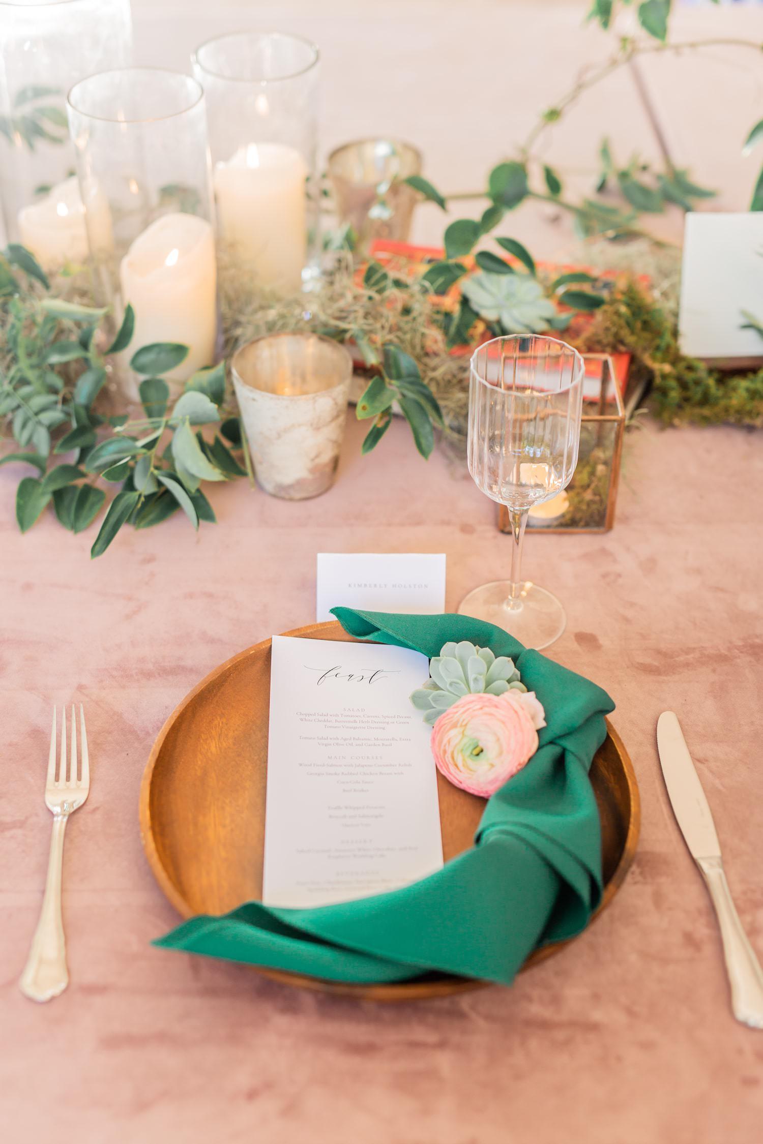 Romantic, fairytale, storybook themed wedding table setting