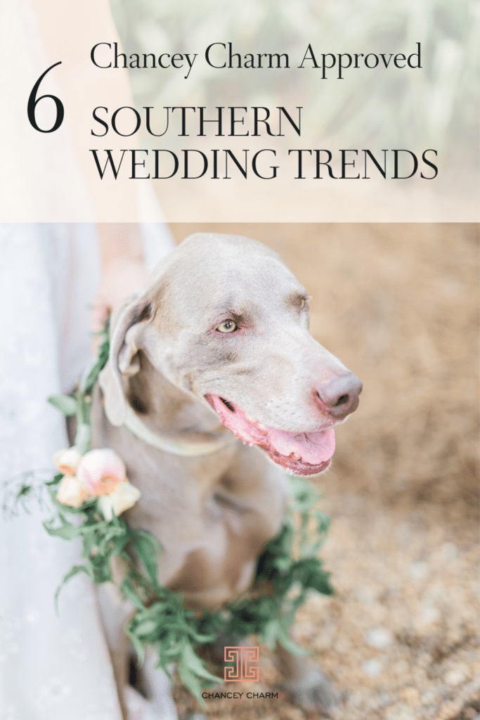From naming your signature drink after your beloved pup to tying in a nod to your alma mater, we're excited to share six Chancey Charm approved southern wedding trends we're currently loving.