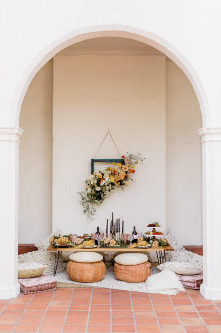 Boho styled wedding table set-up in San Diego