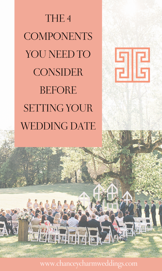 We've partnered with our Chancey Charm destination wedding expert, Liz Ise, as she leads a conversation with the team about the 4 key components you need to consider before setting your wedding date. #weddingplanningtips #destinationwedding