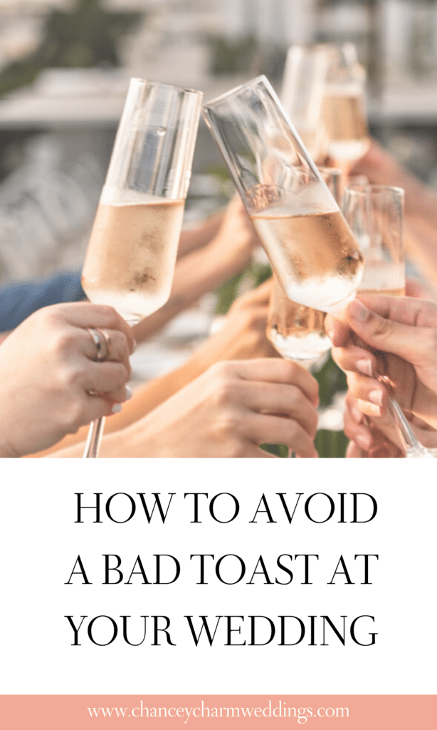 The Chancey Charm team is sharing some wedding toast examples and some insight from when wedding toasts went wrong + tips for avoiding bad wedding toasts.