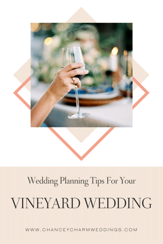 There's something so romantic about a vineyard wedding! If you're planning your dream wedding at a winery or vineyard, there are some things to take into consideration to ensure your day is all you envision it to be! We're sharing our top vineyard wedding planning tips. #vineyardwedding #weddingplanningtips
