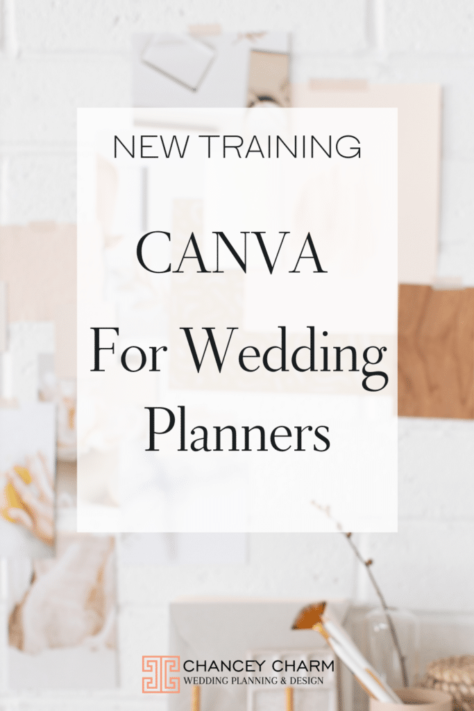 Special guest speaker and Canva EXPERT, Brenda Cadman, is sharing how to make on your Canva templates shine in this new wedding planner training video! Plus as an extra bonus, we are offering New Canva Templates for Wedding Planners in the Chancey Charm Wedding Planner Academy.