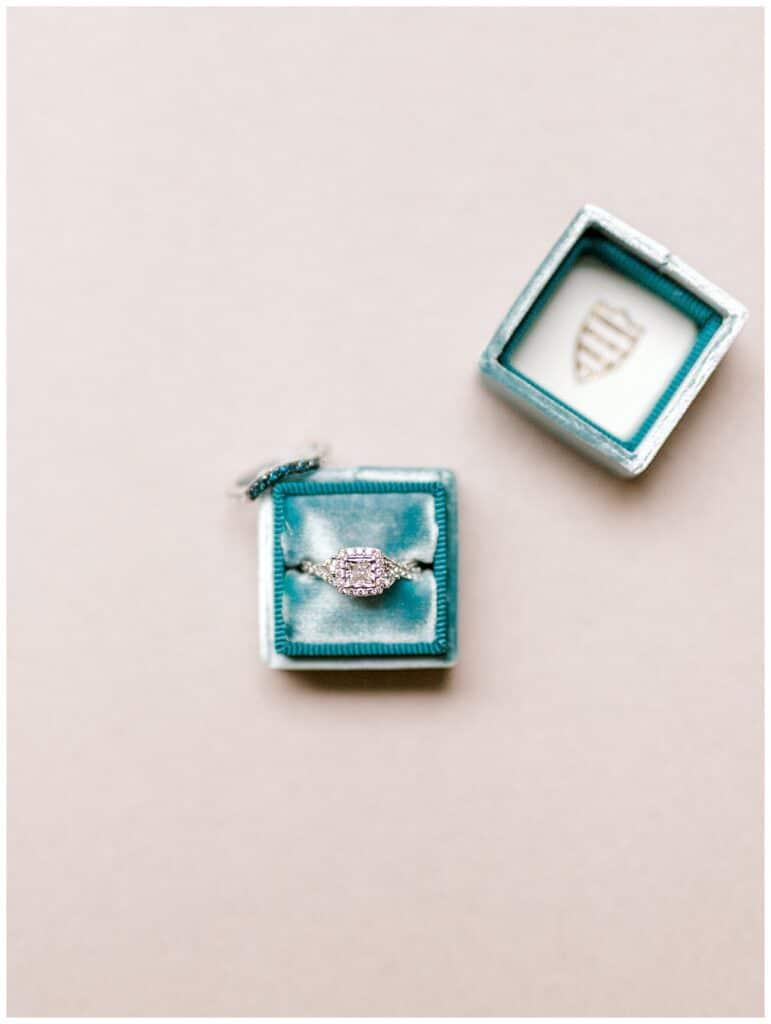 Engagement Ring in a blue velvet Box