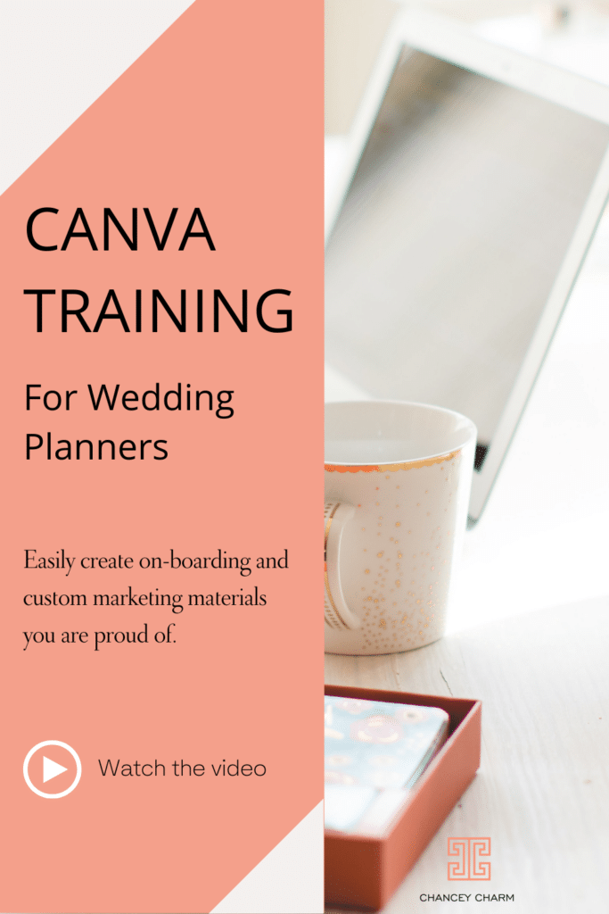 Free Canva training for wedding planners on how to make your graphics shine! Plus get access to the wedding planner canva template bundle!
