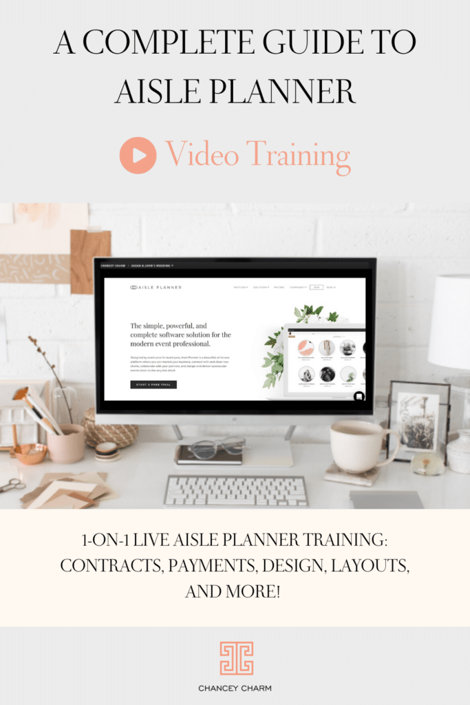 Wedding planner training. Get the inside scoop on our 1-on-1 LIVE Aisle Planner Training, where we'll cover things like contracts, payments, design within the program, layouts, and more!
