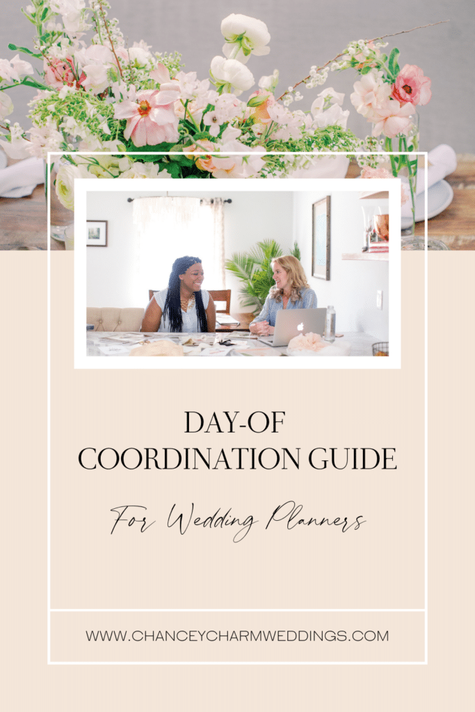"""Sarah Chancey is sharing her """"Day-of Coordination Guide for Wedding Planners PLUS her """"Full Planning and Design Sucess"""" Guide. These include timelines, checklists, templates and are packed full of useful info to enable you to book your first wedding planner clients with confidence."""