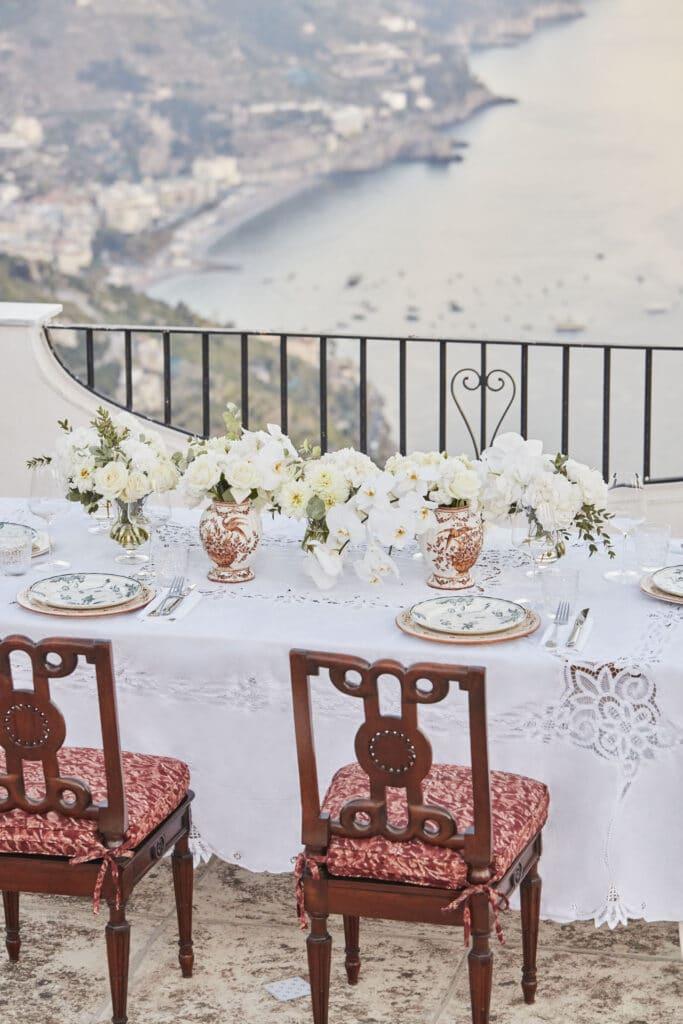 Belmond Villa Margherita, Italy, wedding table set up. Planning a destination wedding in Europe.
