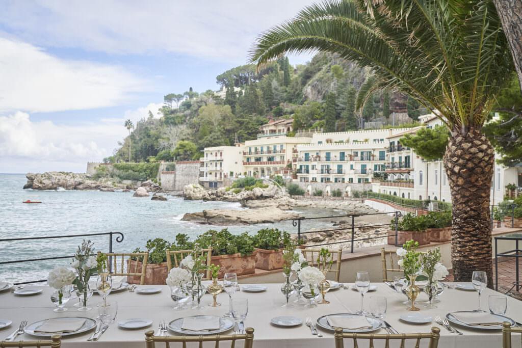 Belmond Villa Sant'Andrea Outdoor Wedding set up. Planning a destination wedding in Europe.